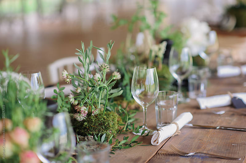 Table setup for an outdoor rustic wedding by Adrian Cotiga for Stocksy United
