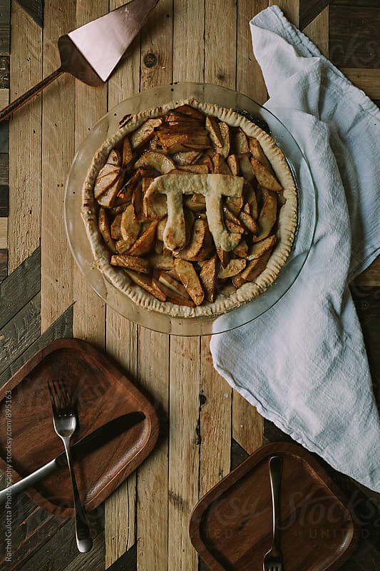 Baked Apple Pie on Pi Day by Rachel Gulotta Photography for Stocksy United