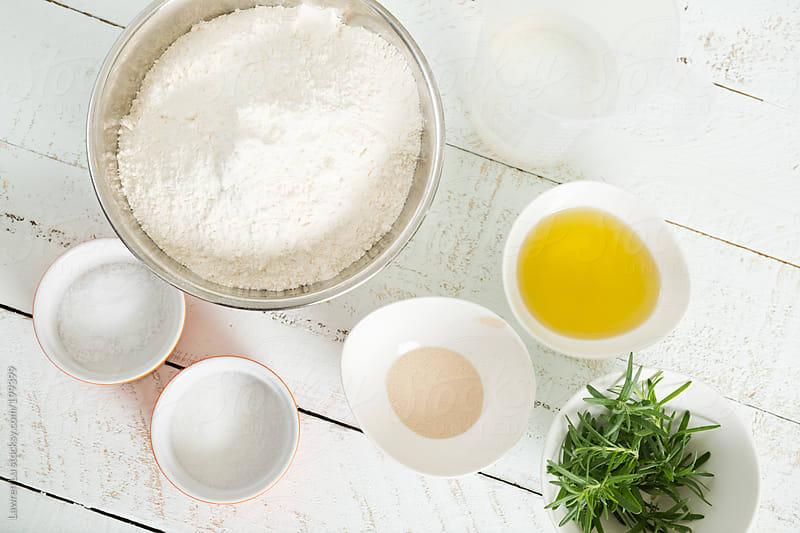 Baking ingredients on wooden table  by Lawren Lu for Stocksy United