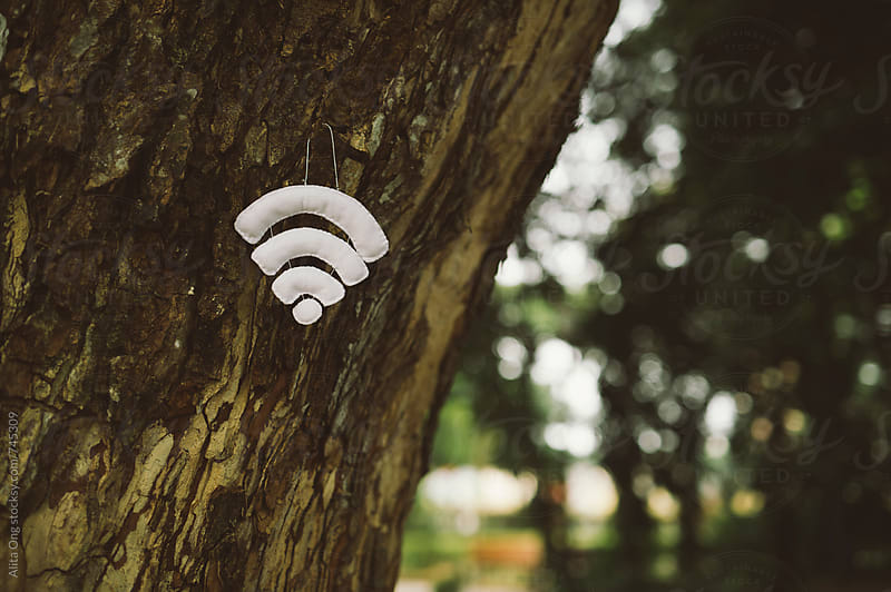 Wifi symbol hanging from a tree by Alita Ong for Stocksy United