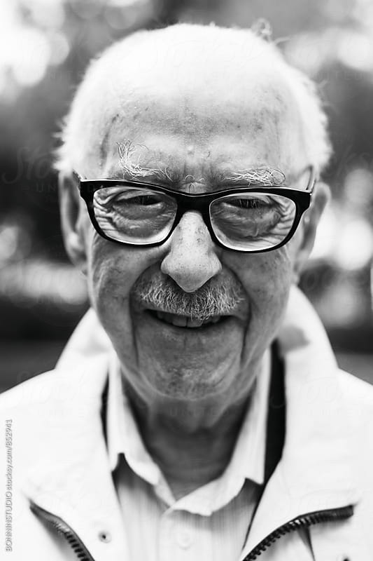Portrait of an elderly man. Black and white photo. by BONNINSTUDIO for Stocksy United