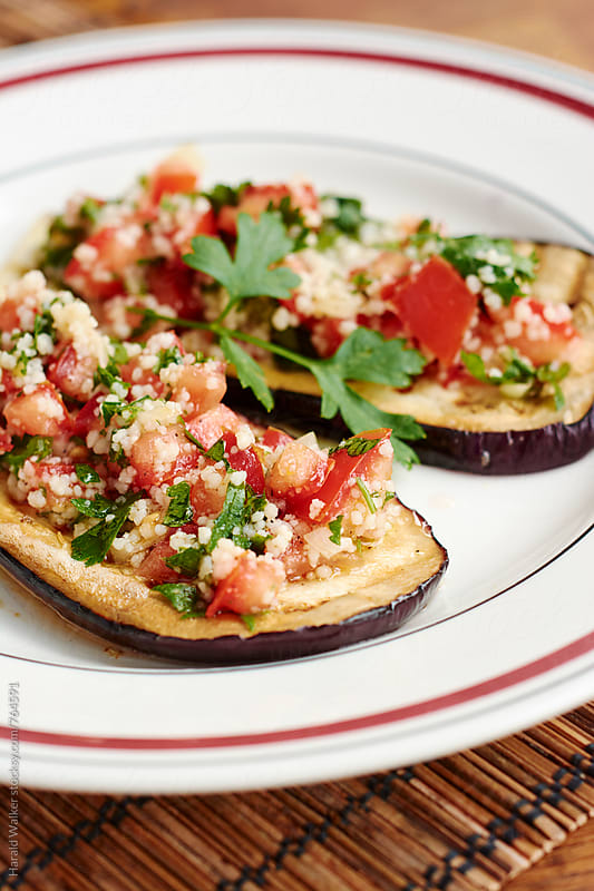 Grilled Eggplant with Tabbouleh by Harald Walker for Stocksy United