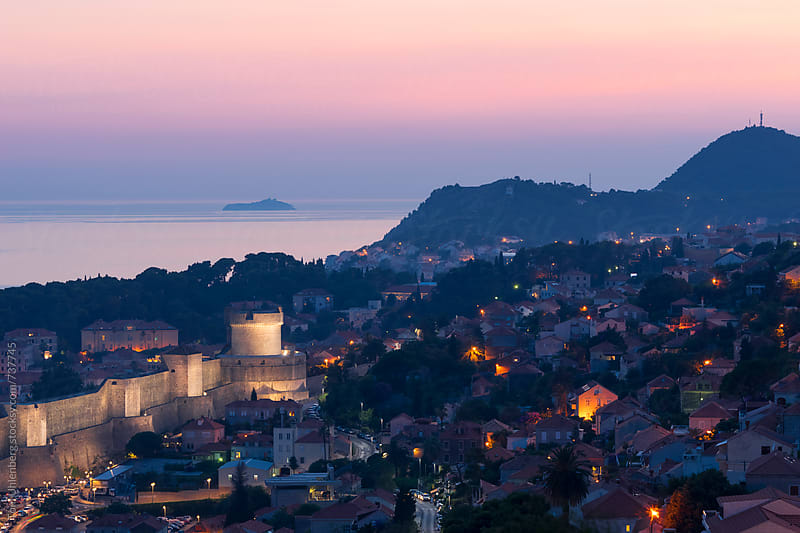 Panorama of Dubrovnik at Twilight, Croatia by Tom Uhlenberg for Stocksy United