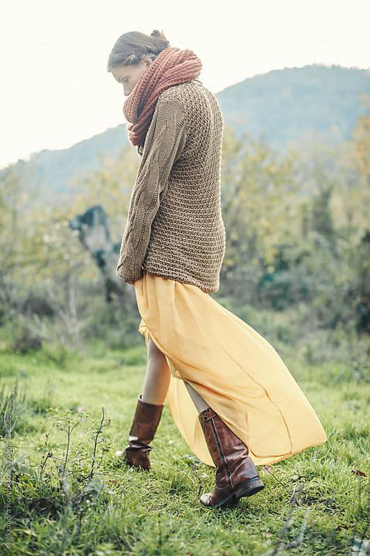 Woman walking in autumn nature by Aleksandra Kovac for Stocksy United
