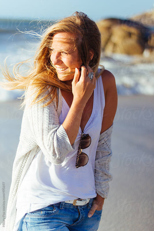 Casual Woman on Beach by Hillary Fox for Stocksy United