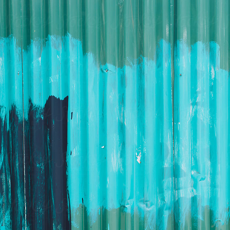 Messy Paint All Over Corrugated Green Metal Wall  by Nemanja Glumac for Stocksy United