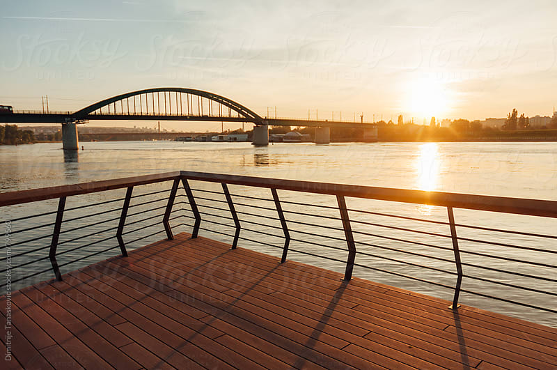 Sunset above the Sava river in Belgrade by Dimitrije Tanaskovic for Stocksy United