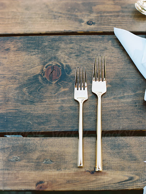 gold flatware against rustic pine dining table by wendy laurel for Stocksy United