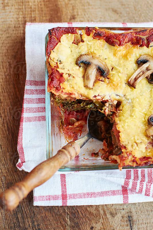 Mushroom Kale Lasagna by Harald Walker for Stocksy United