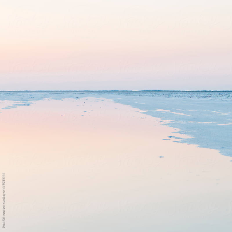 Flooded Bonneville Salt Flats at dawn, near Wendover, UT by Paul Edmondson for Stocksy United