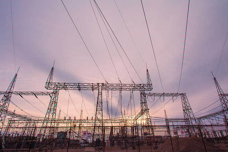 Electrical High Tension Power Station In Industrial Area by JP Danko for Stocksy United