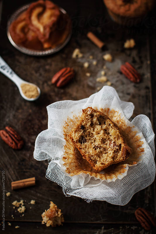 Spiced muffins with pears and pecans  by Federica Di Marcello for Stocksy United