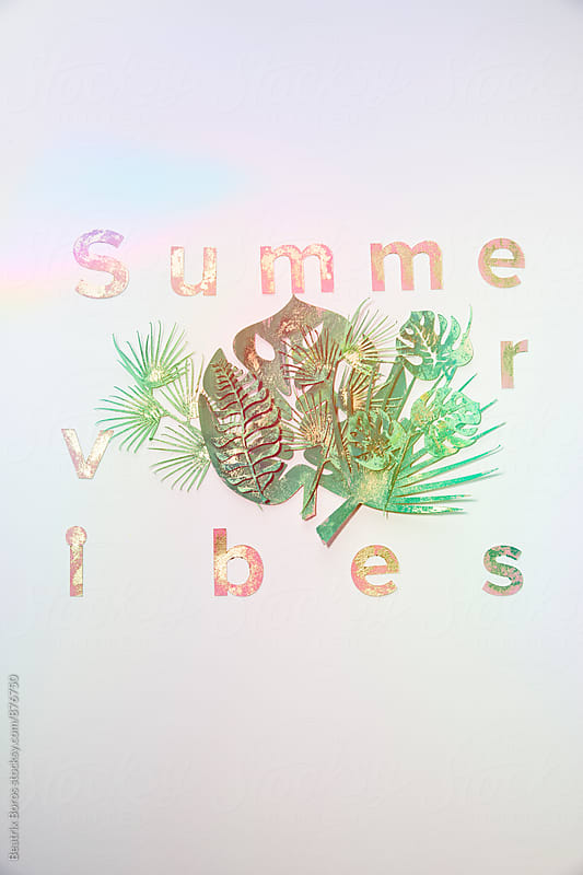 Summer vibes message with paper palm leaves by Beatrix Boros for Stocksy United