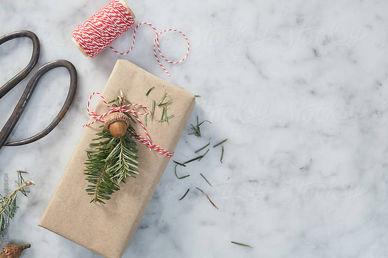 Decorating Christmas Gift Still Life by Alicja Colon for Stocksy United