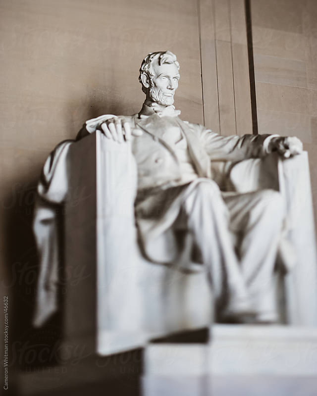 Lincoln memorial statue shot with tilt shift lens  by Cameron Whitman for Stocksy United
