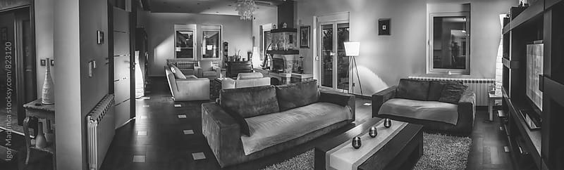 large comfortable family living room, real estate, rent, black and white by Igor Madjinca for Stocksy United