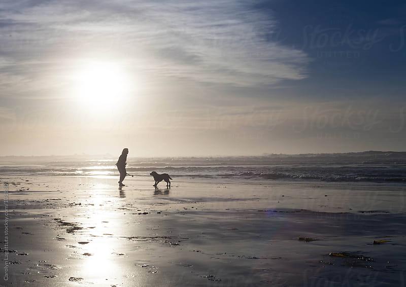 Black labrador and his owner playing fetch on the beach by Carolyn Lagattuta for Stocksy United