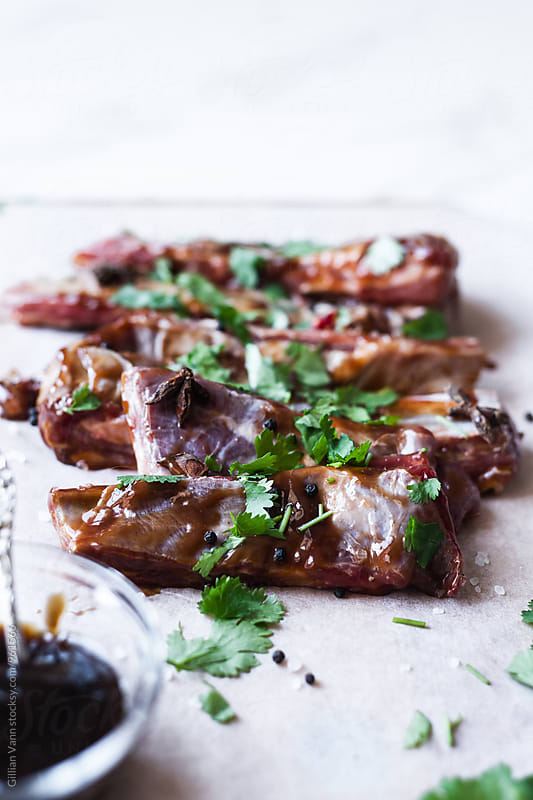 lamb ribs marinading in a hoi sin sauce, with coriander, star anise, pepper and salt by Gillian Vann for Stocksy United