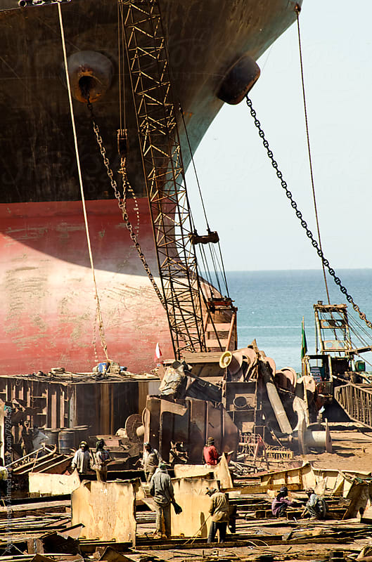 Gadani ship-breaking yard , world's third largest ship breaking yard.  by Agha Waseem Ahmed for Stocksy United