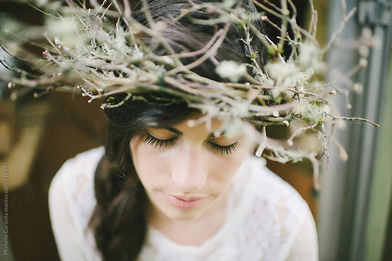 Woman with crown of Twigs by Michelle Gardella for Stocksy United