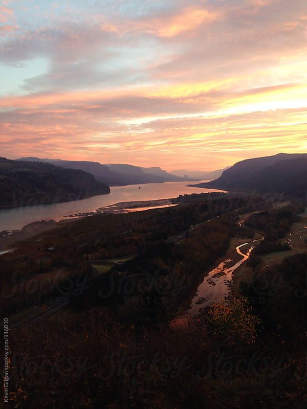 Columbia River Gorge at Sunrise by Kevin Gilgan for Stocksy United