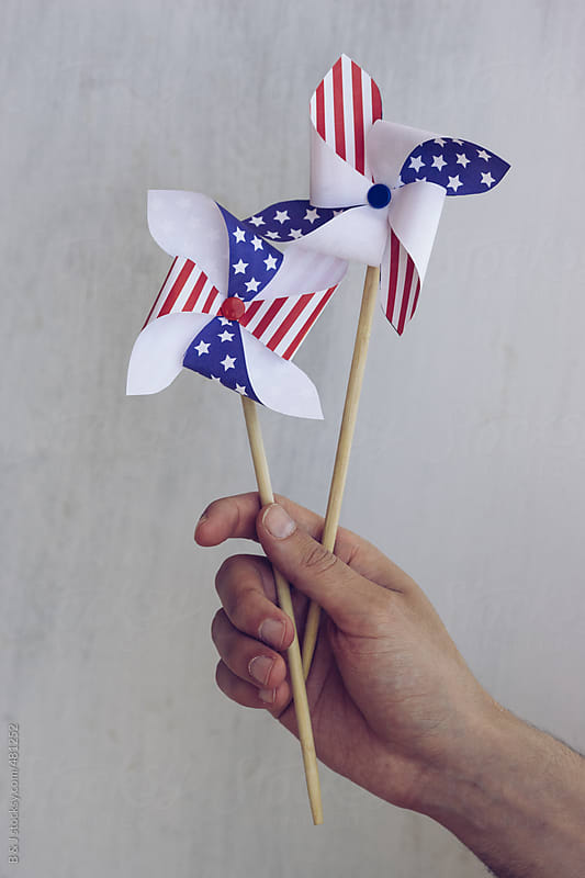 Patriotic paper windmill by B & J for Stocksy United