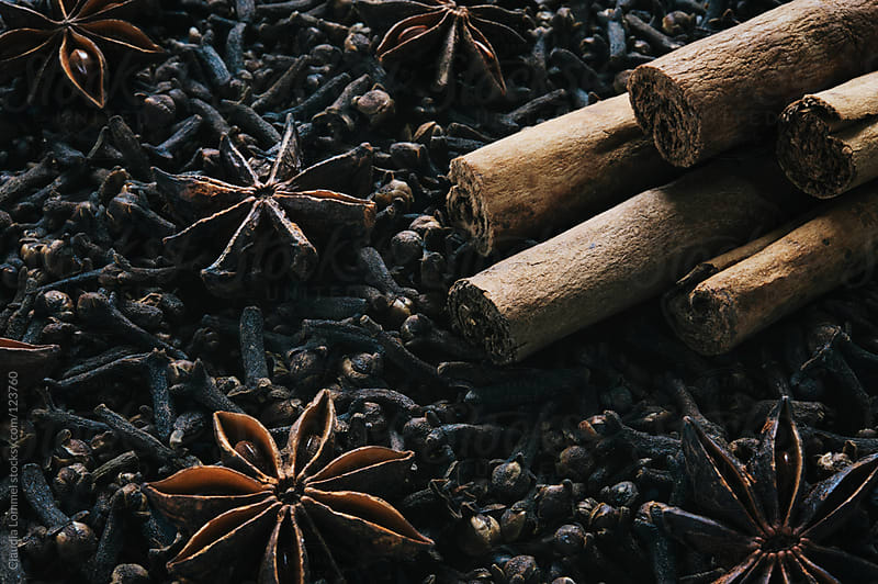 Christmas Spices, Cinnamon Sticks and Star Anise on a Bed of Cloves by Claudia Lommel for Stocksy United