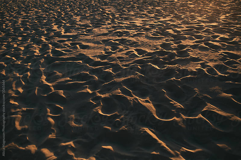Beach Sand at Sunset by Alicia Magnuson Photography for Stocksy United
