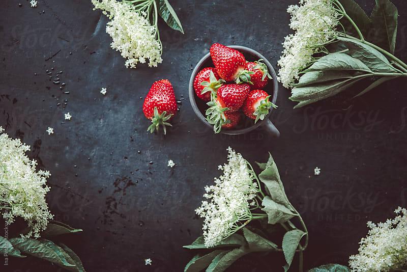 Food: Strawberries and Elderflower by Ina Peters for Stocksy United