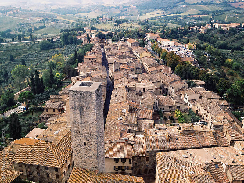 A Tuscan landscape view from the Great Tower in San Gimignano, Italy. by Greg Schmigel for Stocksy United