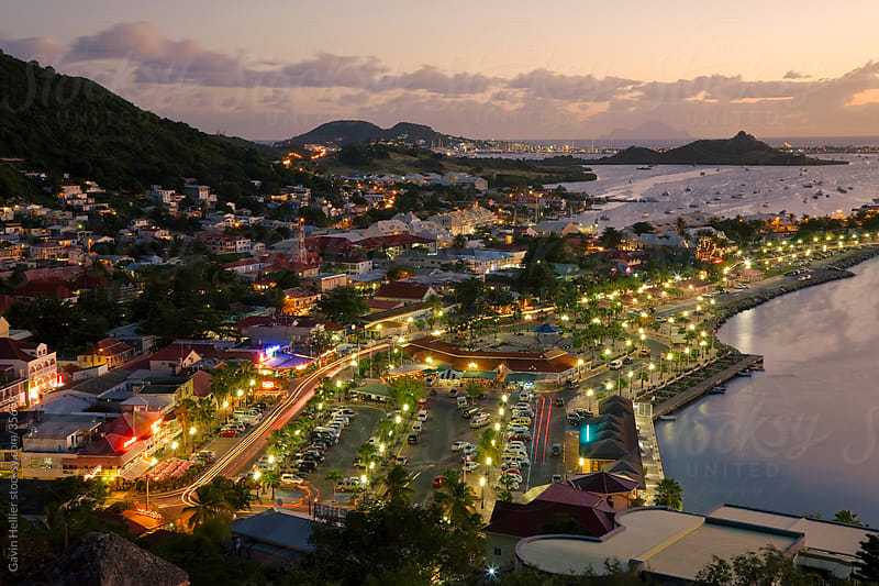 West Indies, Caribbean, Lesser Antilles, Leeward Islands, French West Indies / Netherlands Antilles, St Martin - Saint Martin / Sint Maarten, elevated view over the French town of Marigot from Fort St. Louis by Gavin Hellier for Stocksy United