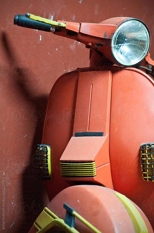 Red Italian vintage motorcycle by Branislav Jovanović for Stocksy United