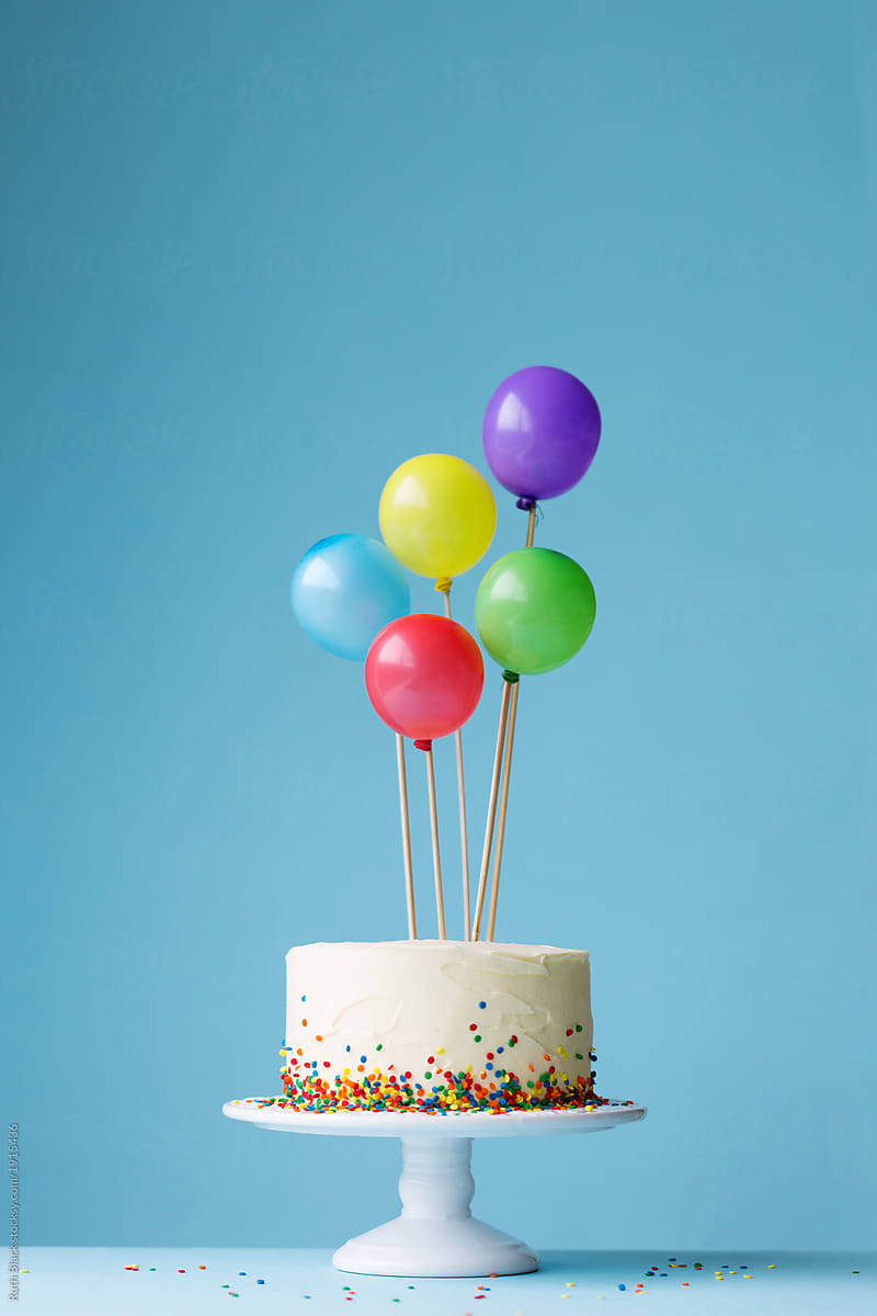 Pleasant Birthday Cake Decorated With Colorful Balloons By Ruth Black Funny Birthday Cards Online Aeocydamsfinfo