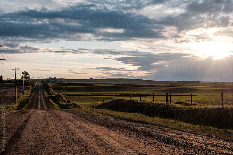 Sun setting over a rural dirt road and farmer's field. by Riley Joseph for Stocksy United
