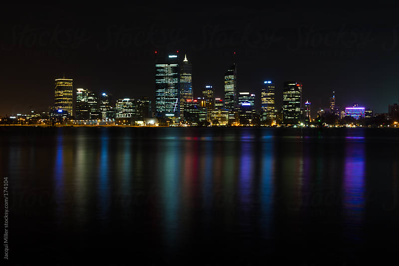 Perth, Western Australia at night by Jacqui Miller for Stocksy United