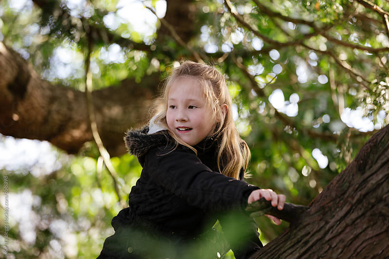 Girl looks around from up a tree by Kirsty Begg for Stocksy United