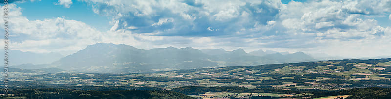 Mountain range panoramic view from Uetliberg by Borislav Zhuykov for Stocksy United
