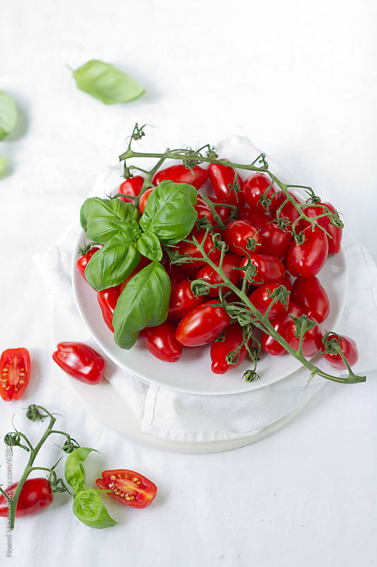 San Marzano tomatoes on white plate with basil by Noemi Hauser for Stocksy United