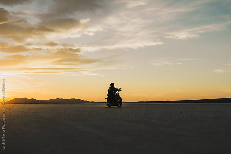 Motorcyclist Silhouette by Isaiah & Taylor Photography for Stocksy United