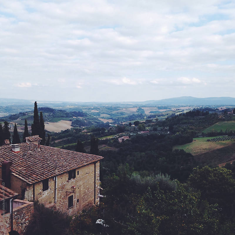 Landscape view of San Gimignano in Italy's Tuscany region by Greg Schmigel for Stocksy United