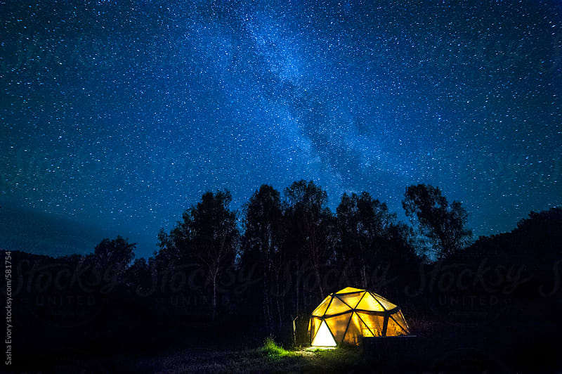 A dome under Milkyway by Sasha Evory for Stocksy United