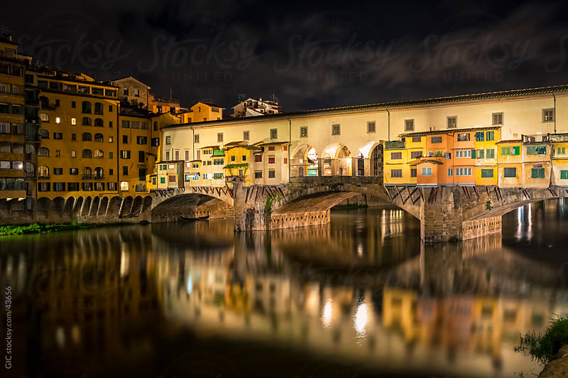 Ponte Vecchio bridge by night in Florence - Tuscany by GIC for Stocksy United