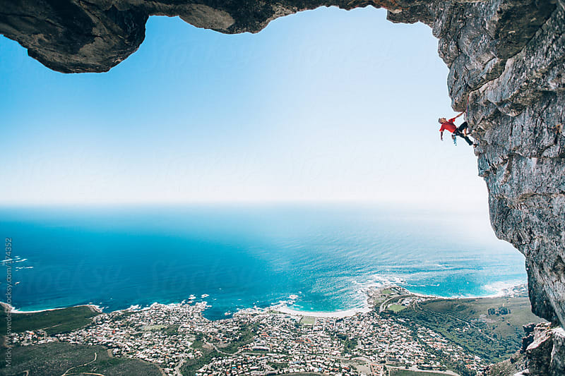 Rock Climber on Table Mountain, Cape Town, South Africa by Micky Wiswedel for Stocksy United