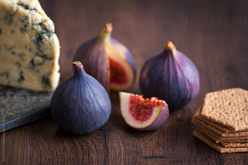 fresh figs, stilton cheese and biscuits by Lee Avison for Stocksy United