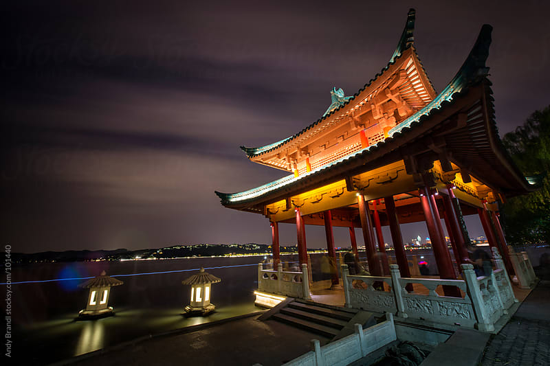 Nightly Movement at Cui Guang Pagoda by Andy Brandl for Stocksy United