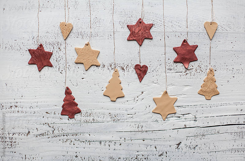 Christmas Ornaments on a White Wooden Background by Mosuno for Stocksy United