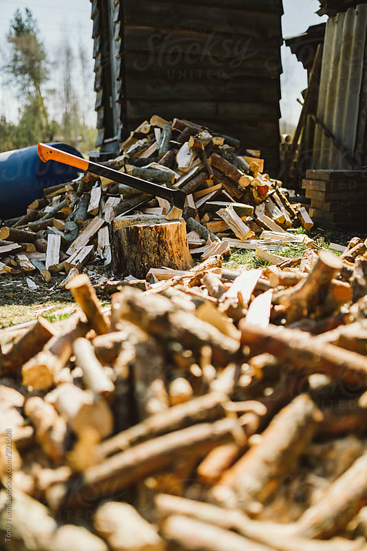 Axe used for firewood. by Tõnu Tunnel for Stocksy United