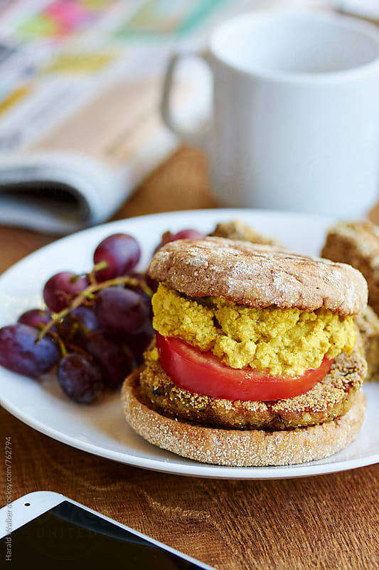 Vegan Patties with Scrambled Tofu Muffins by Harald Walker for Stocksy United