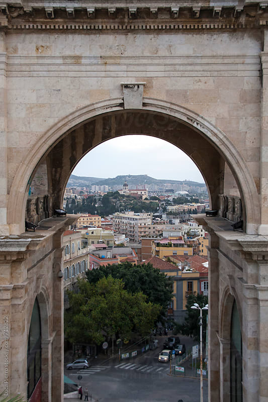 Cagliari, Sardinia. Panorama framed in a arch.  by Luca Pierro for Stocksy United