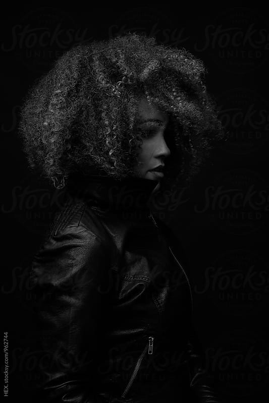 Beautiful Woman With Curly Hair. Bw Portrait by HEX. for Stocksy United